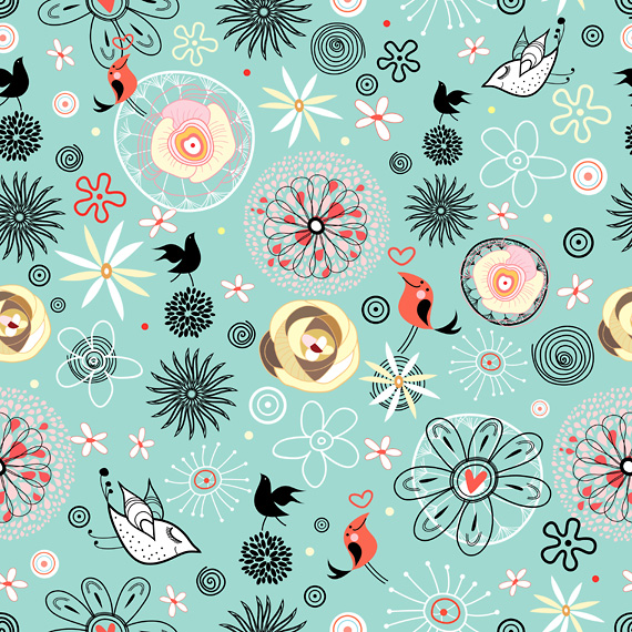Floral pattern with birds © tanor at Crestock.com