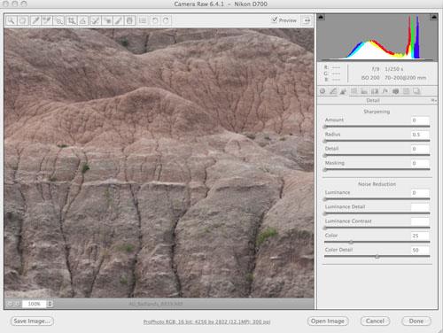 Adobe Camera Raw - Details: no sharpening