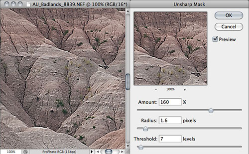 Photoshop Unsharp Masking: excessive sharpening
