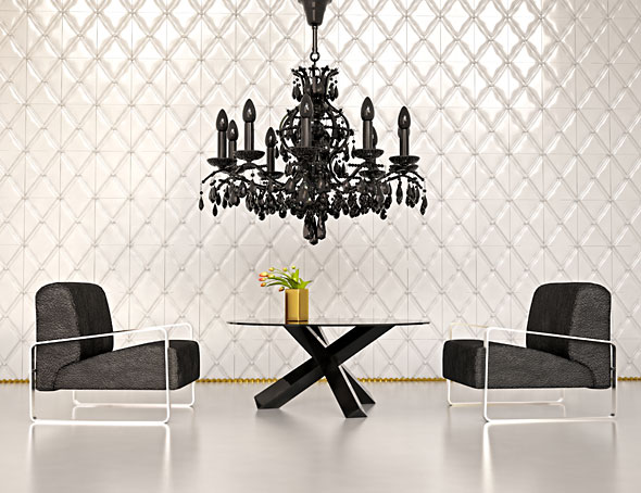 Modern interior of living room with black chandelier © vicnt at Crestock.com