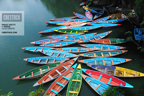 Colorful tour boats wallpaper